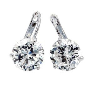 Fashion three claw silver crystal stud earrings